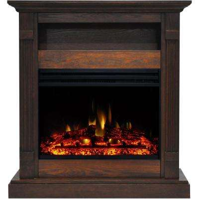Sienna 34 in. Electric Fireplace Heater in Walnut with Mantel, Enhanced Log Display and Remote Control