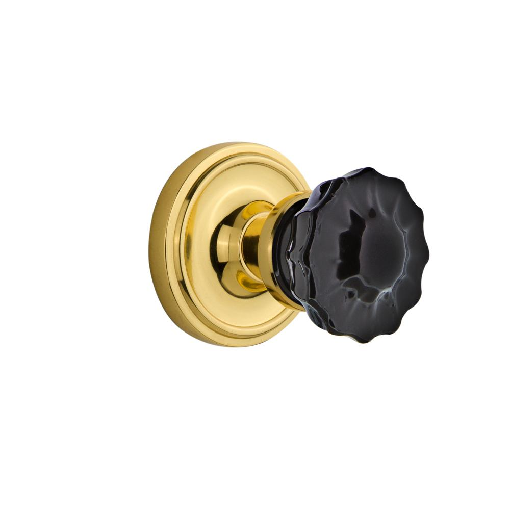 Classic Rosette Interior Mortise Crystal Black Glass Door Knob in Polished