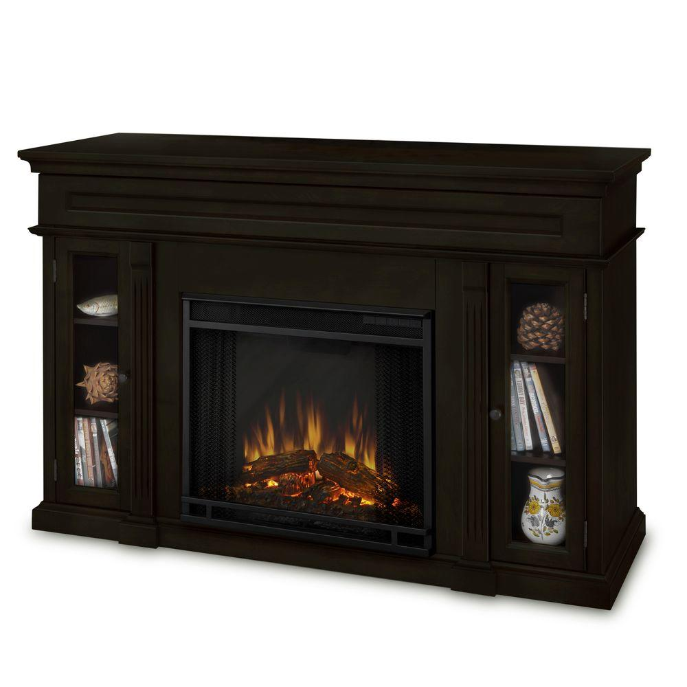 Real Flame Lannon 51 in. Media Console Electric Fireplace in Dark Walnut-DISCONTINUED