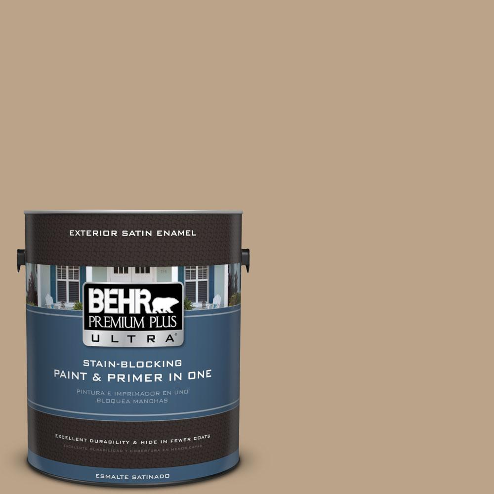 BEHR Premium Plus Ultra 1-gal. #710D-4 Harvest Brown Satin Enamel Exterior Paint