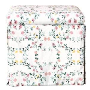 Super Skyline Furniture Kaleidoscope Floral Blush Sma Skirted Gmtry Best Dining Table And Chair Ideas Images Gmtryco