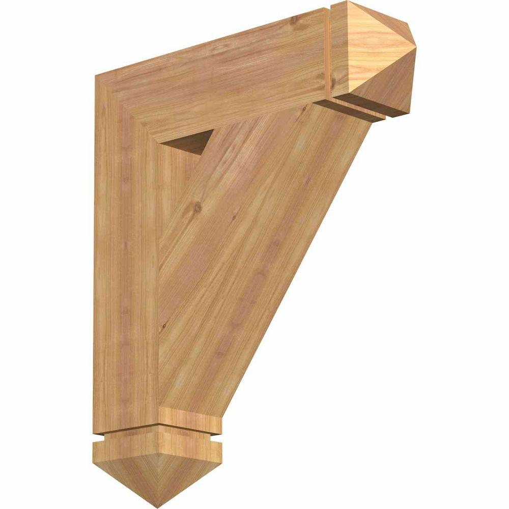 Ekena Millwork 5.5 in. x 28 in. x 24 in. Western Red Cedar Traditional Arts and Crafts Smooth Bracket