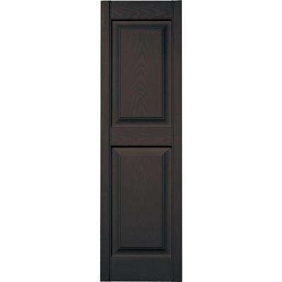 15 in. x 51 in. Raised Panel Vinyl Exterior Shutters Pair in #010 Musket Brown