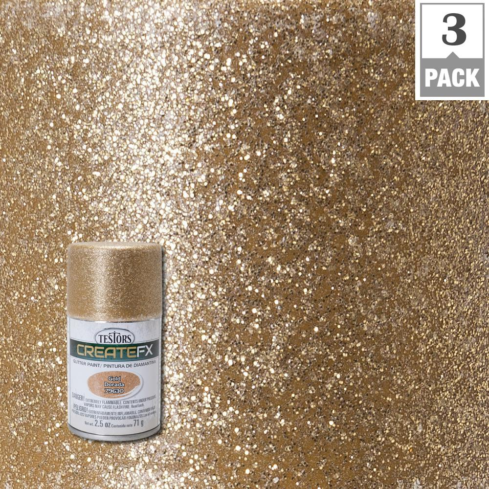 Testors Createfx 2 5 Oz Gold Glitter Spray Paint 3 Pack