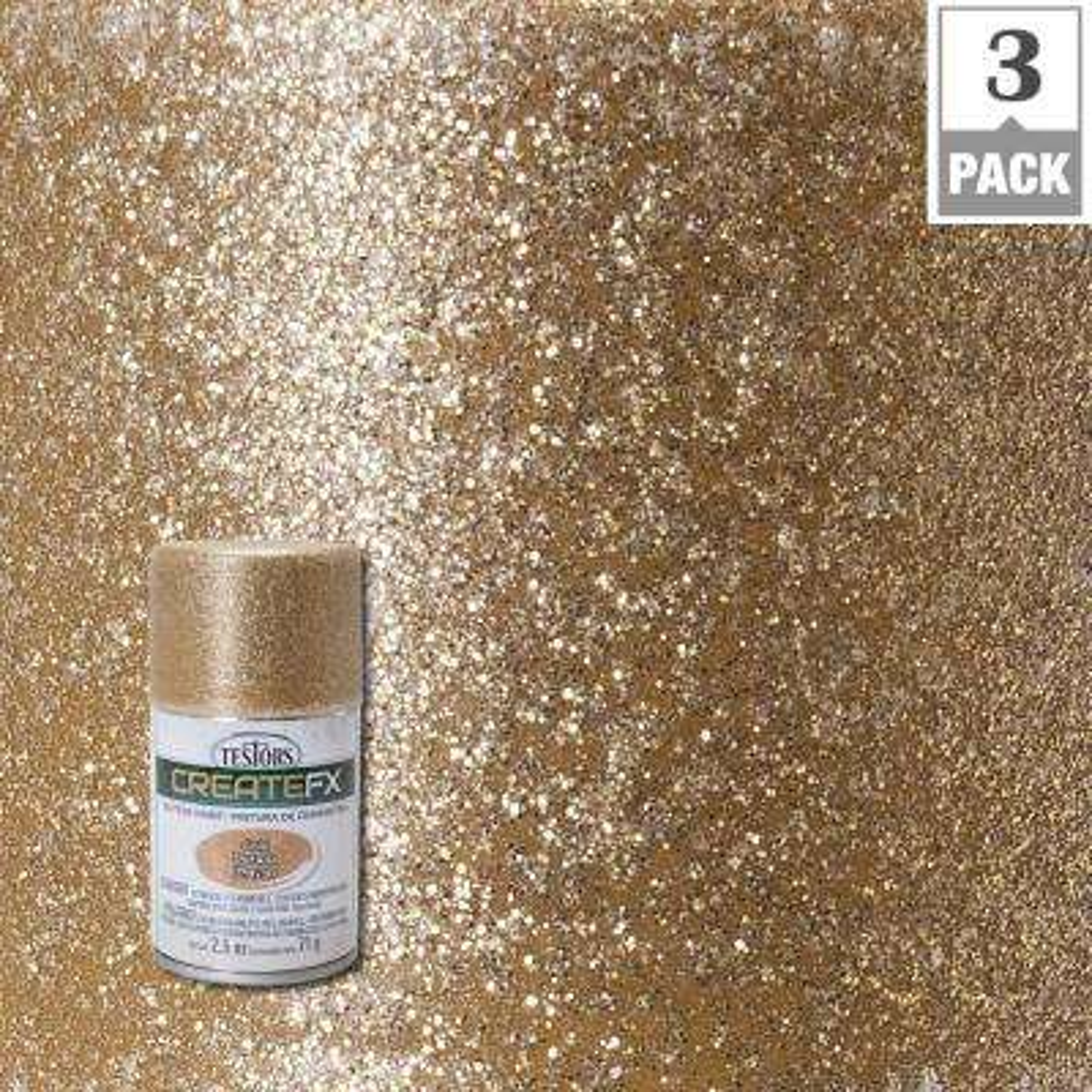 2.5 oz. Gold Glitter Spray Paint (3-Pack)