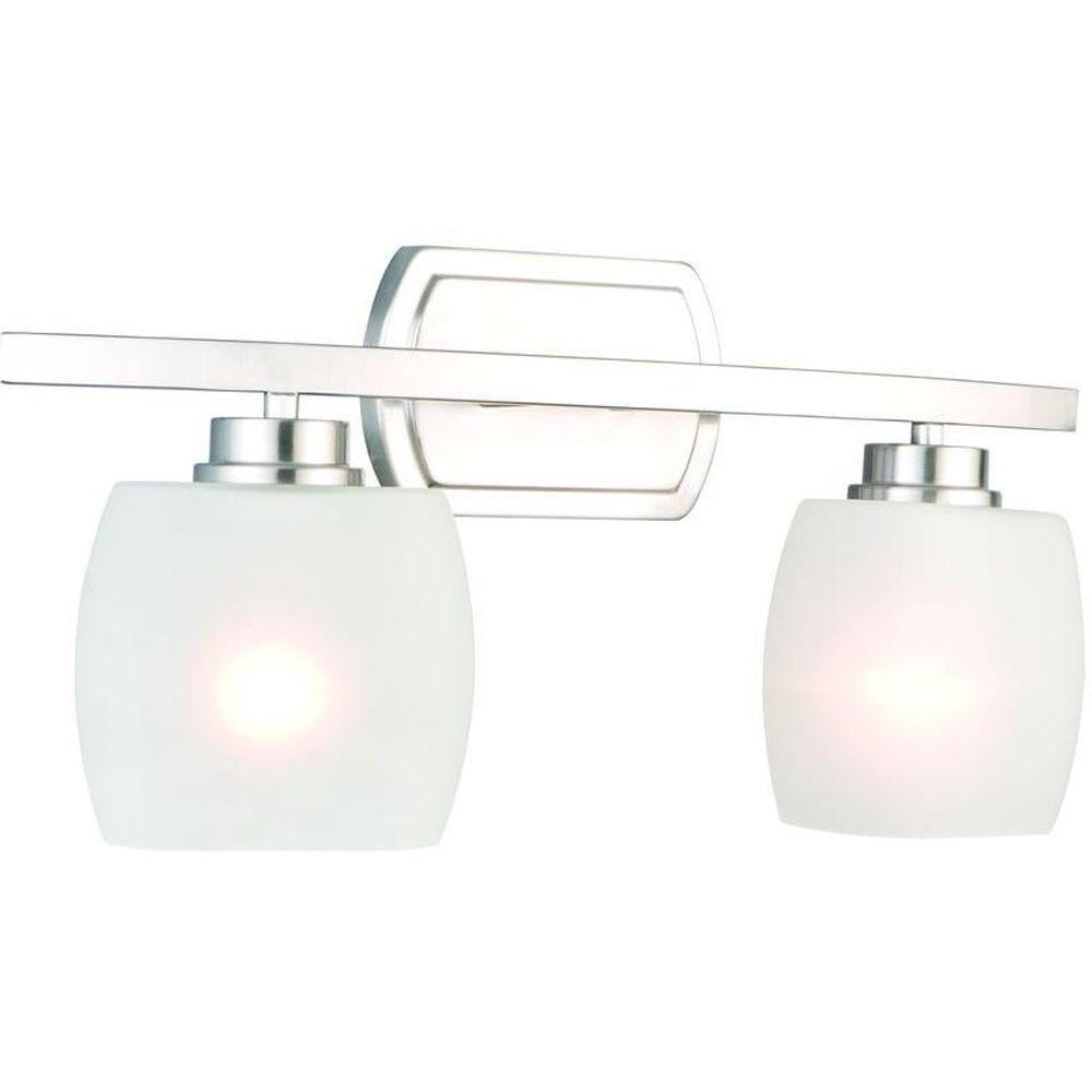 Hampton Bay Tamworth 2 Light Brushed Nickel Vanity Light With Frosted Glass Shades Iex1392a 2
