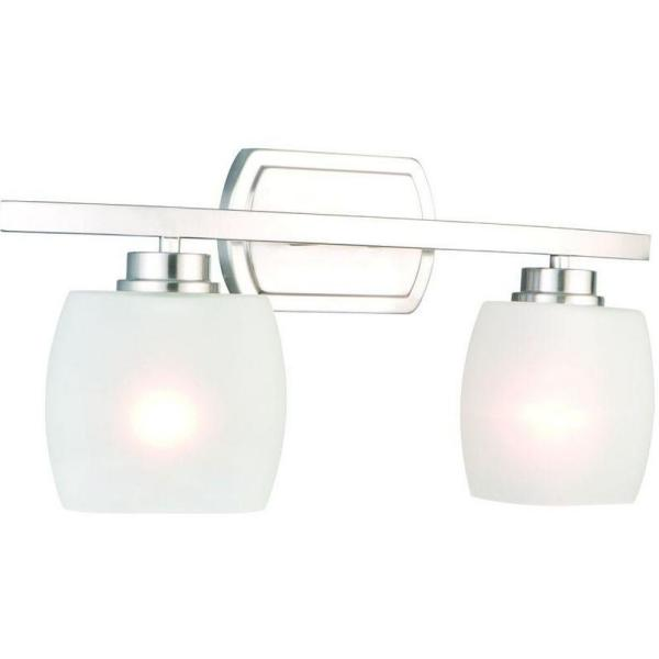 Tamworth 2-Light Brushed Nickel Vanity Light with Frosted Glass Shades