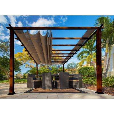 Paragon 11 ft. x 16 ft. Aluminum Pergola With the Look of Chilean Wood with Cocoa Canopy