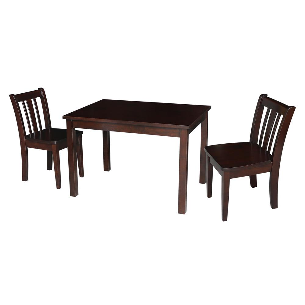 Jorden Rich Mocha 3-Piece Kid's Table and Chair Set