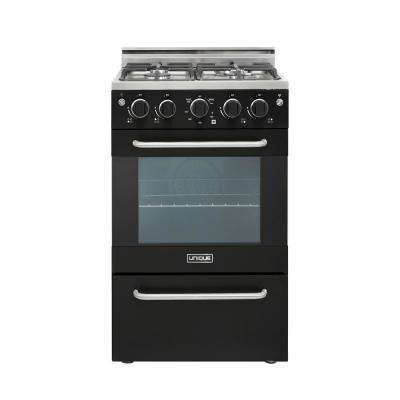 Prestige 20 in. 1.6 cu. ft. Gas Convection Range Sealed 4-Burners in Black