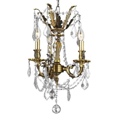 Windsor 3-Light Antique Bronze Chandelier with Clear Crystal