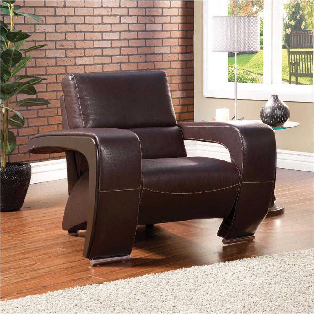 Furniture of America Enez Espresso Leatherette Chair