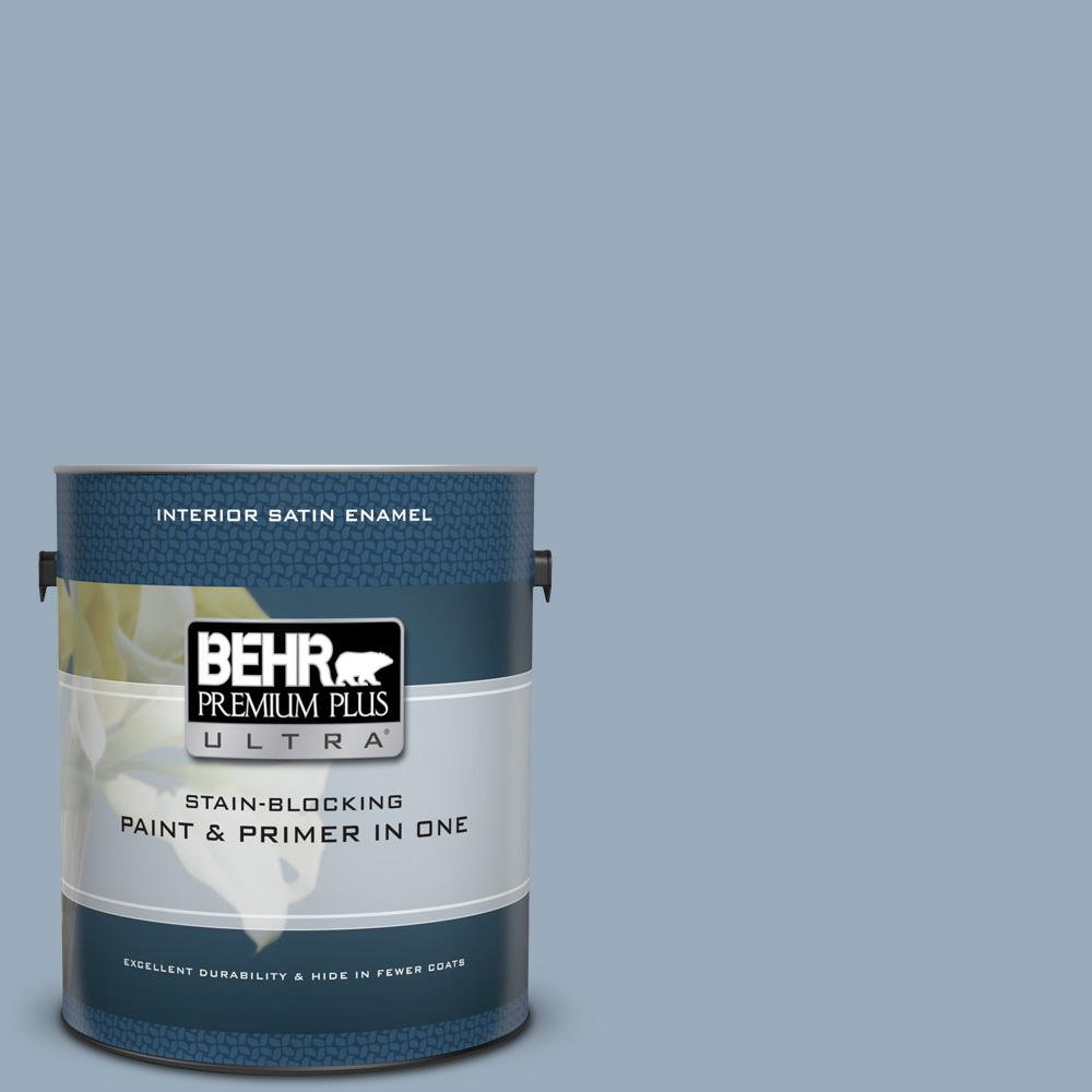 BEHR Premium Plus Ultra 1 gal. #570F-4 Blue Willow Satin Enamel Interior Paint and Primer in One
