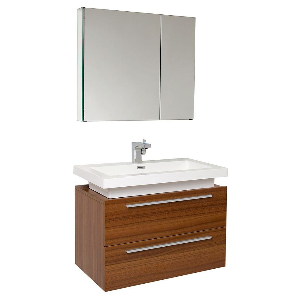 Vanity In Teak With Acrylic Vanity Top In White With White