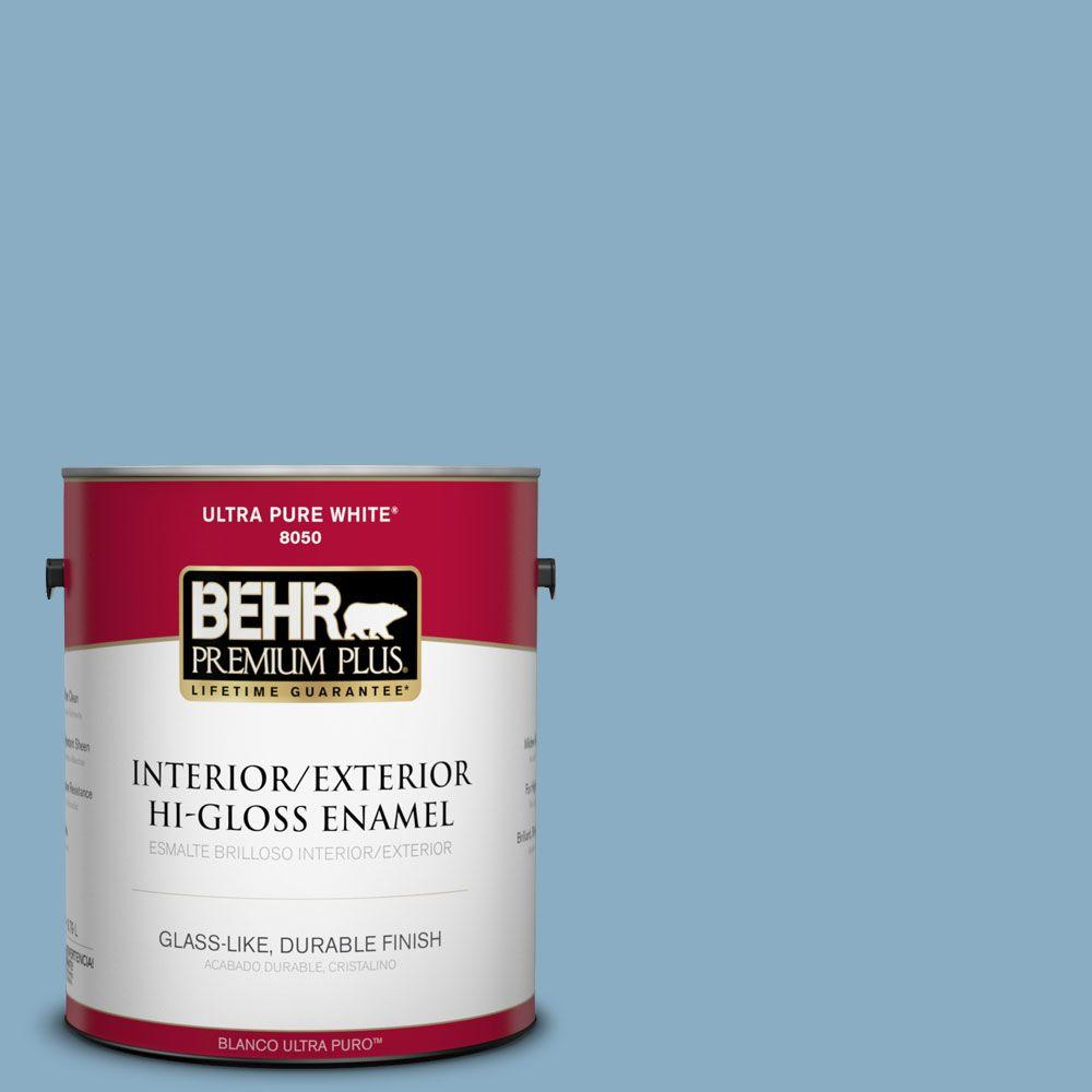 BEHR Premium Plus 1-gal. #S500-4 Chilly Blue Hi-Gloss Enamel Interior/Exterior Paint