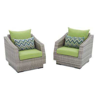Cannes Patio Club Chair with Ginkgo Green Cushions (2-Pack)