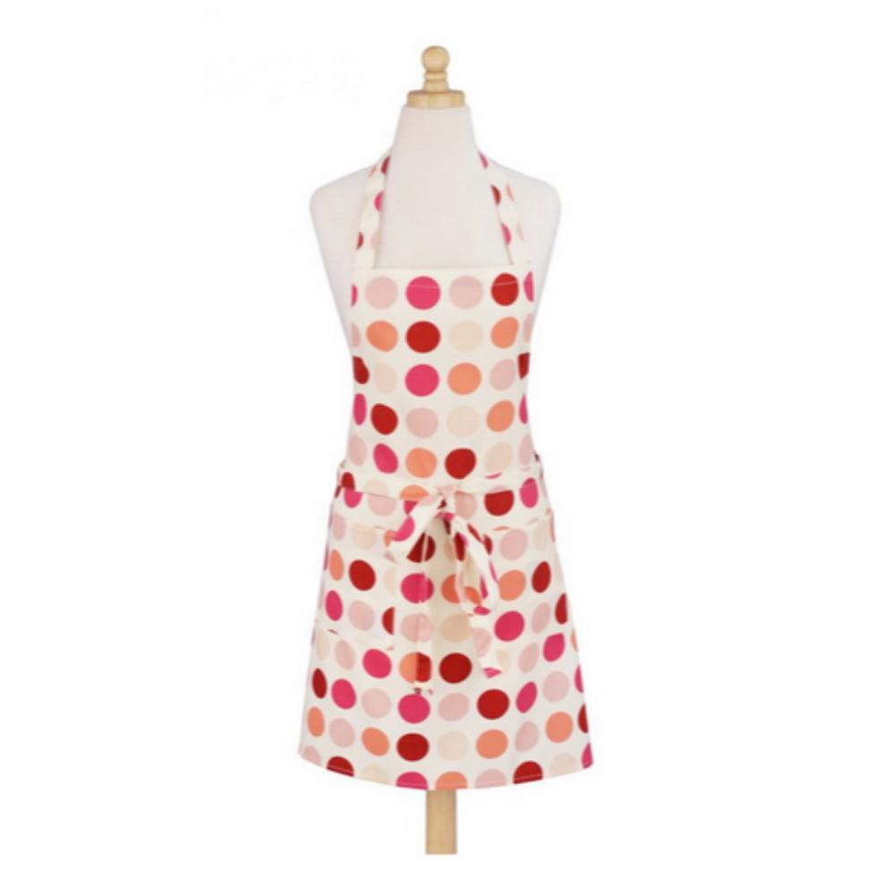 Dotted Pink Modern Print Cotton Butcher's Apron