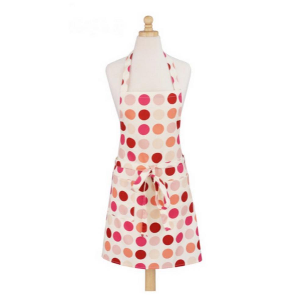 Dotted Pink Modern Print Cotton Butcher's Apron