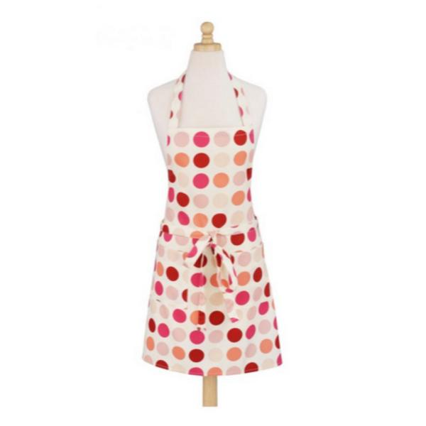 Art Style Design Living Dotted Pink Modern Print Cotton Butcher's Apron