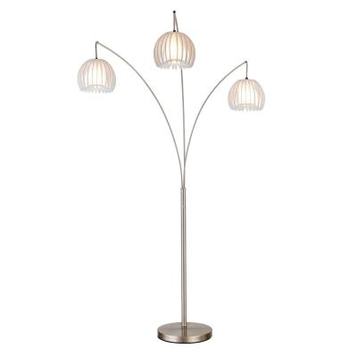 Zucca 83 in. 3-arch Brushed Steel LED Floor Lamp