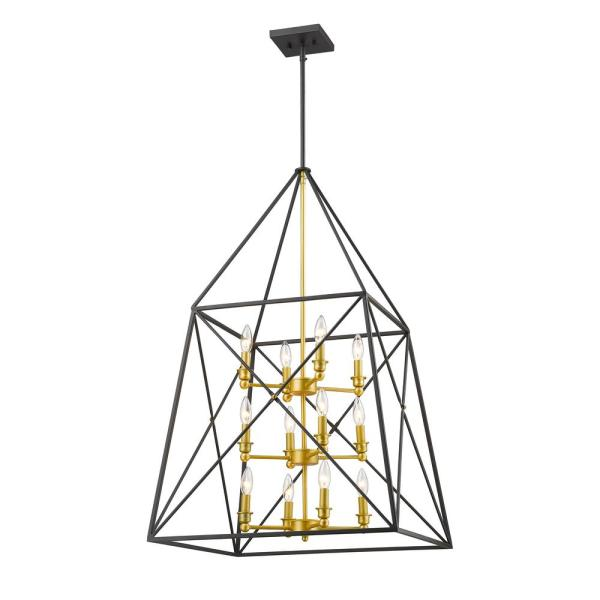 Avram 12-Light Bronze Gold Pendant with Bronze Gold Steel Shade