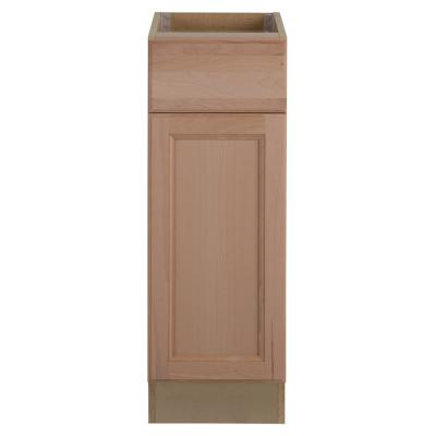 Easthaven Shaker Assembled 12x34.5x24 in. Frameless Base Cabinet with Drawer in Unfinished Beech