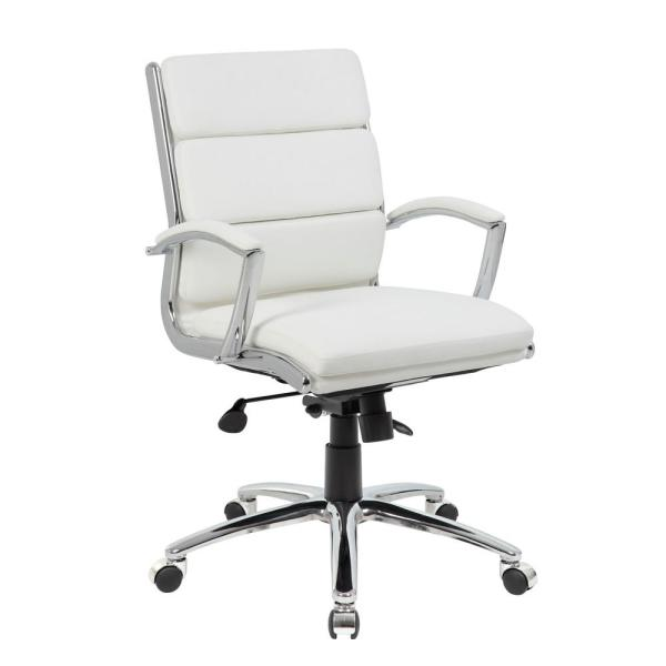 Boss White Mid Back Executive Office Chair B9476-WT