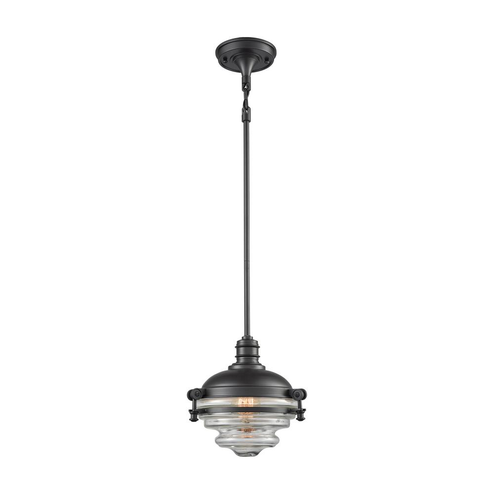 Titan Lighting Riley 1-Light Oil Rubbed Bronze with Clear...
