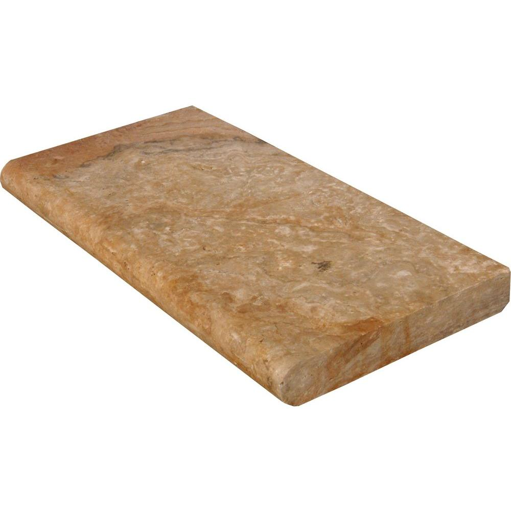 MS International Porcini 12 in. x 24 in. Brushed Travertine Pool Coping (15 Piece / 30 Sq. ft. / Pallet)