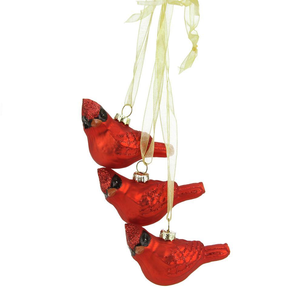 10 in. Miniature Glittered Red Glass Cardinal Bird Decorative Christmas Ornament