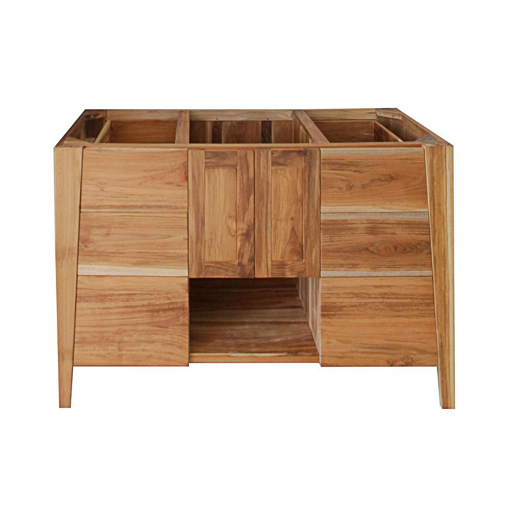 EcoDecors Significado 48 in. L Teak Vanity Cabinet Only in Natural Teak