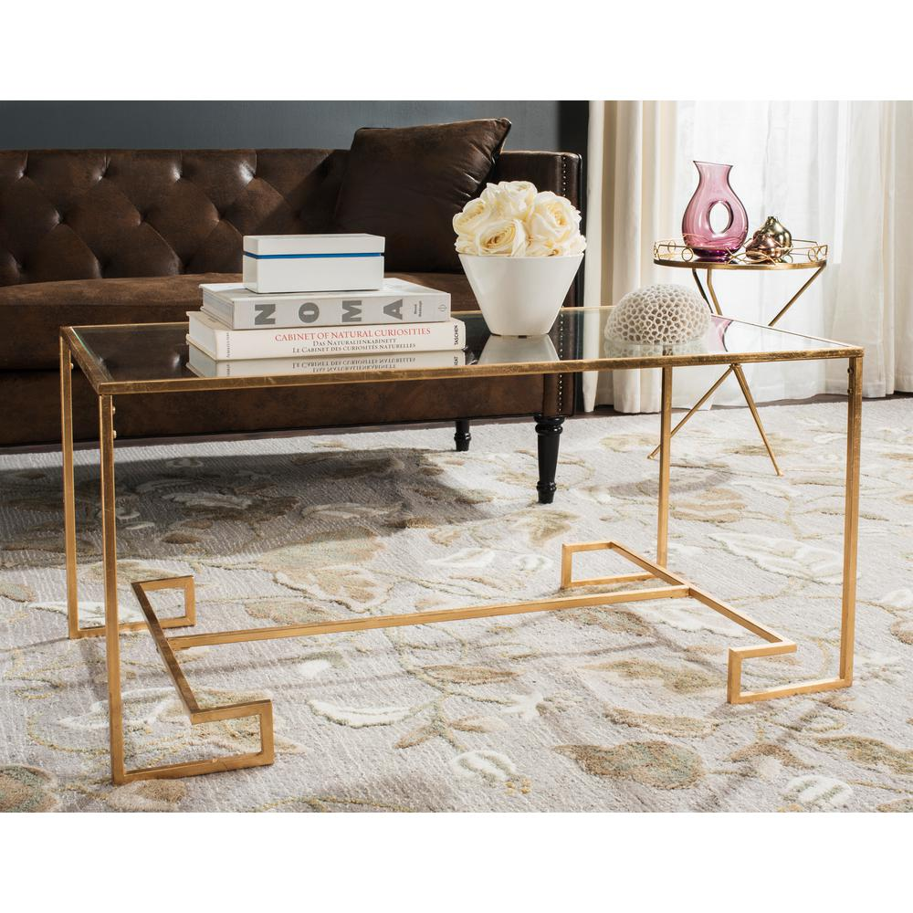 Antique Gold And Glass Coffee Table: Safavieh Burton Glass/Antique Gold Coffee Table-FOX2582A