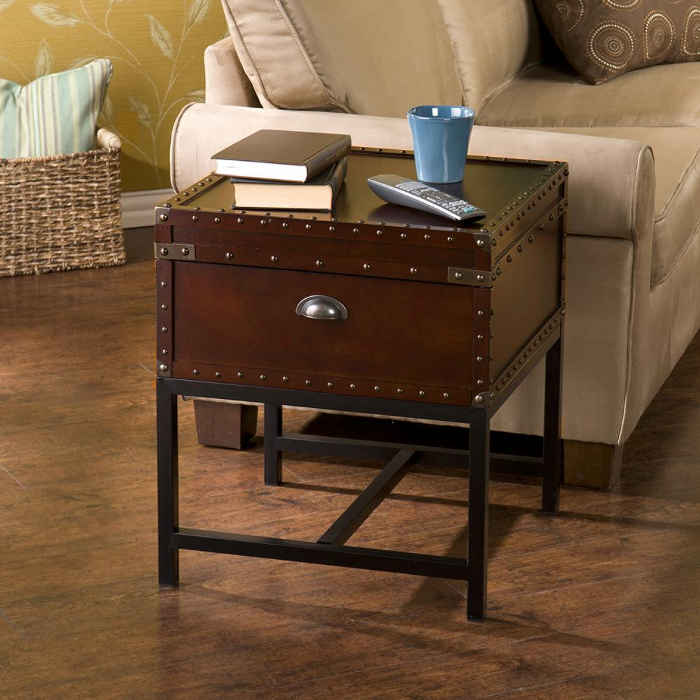 Charmant Southern Enterprises Voyager Espresso Trunk End Table