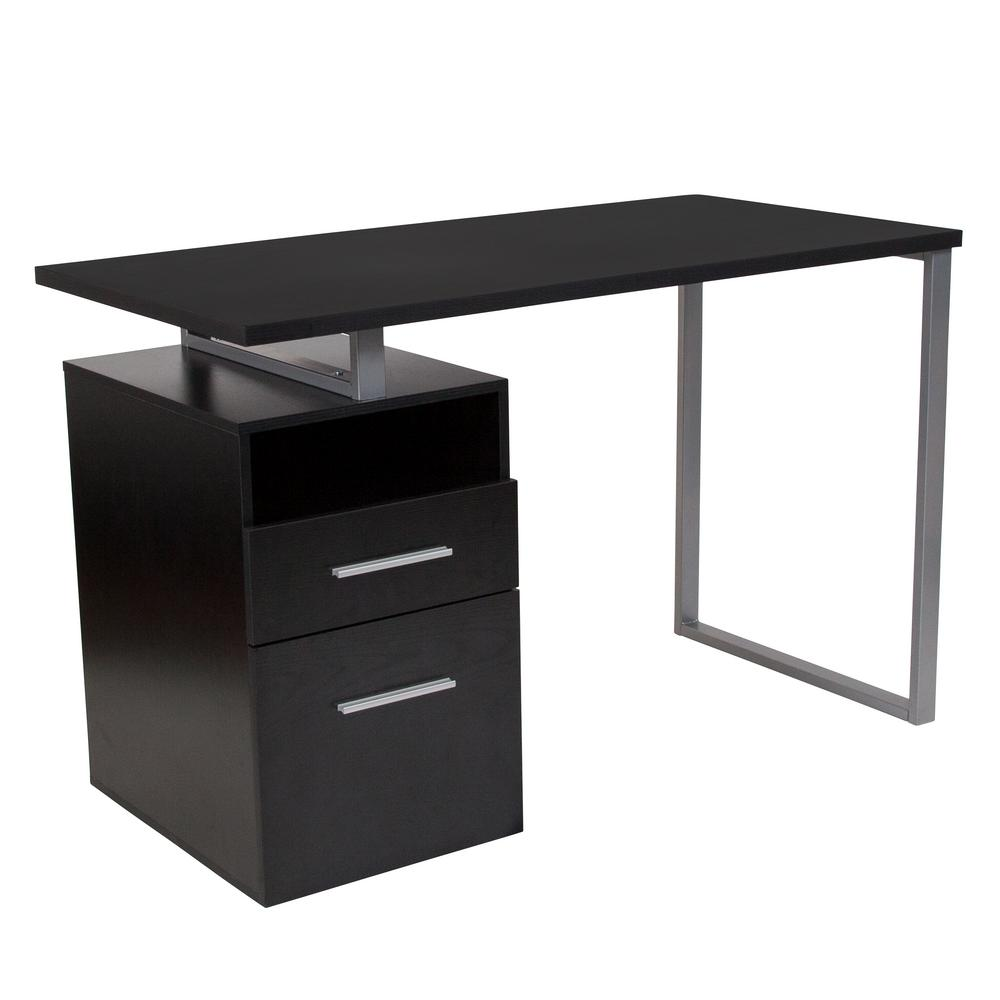 Flash Furniture Harwood Dark Ash Wood Grain Computer Desk With 2 Drawers And Silver Metal