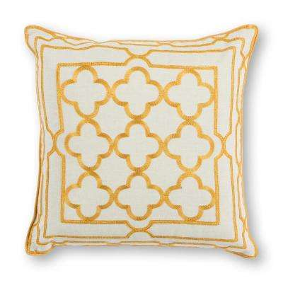 Gold Trefoil Frame 18 in. x 18 in. Decorative Pillow
