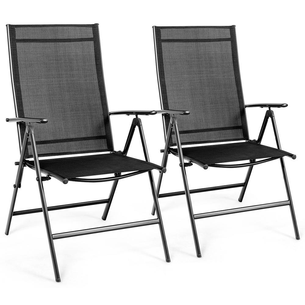 Black Adjustable Steel Patio Folding Chair Recliner (Set of 2)