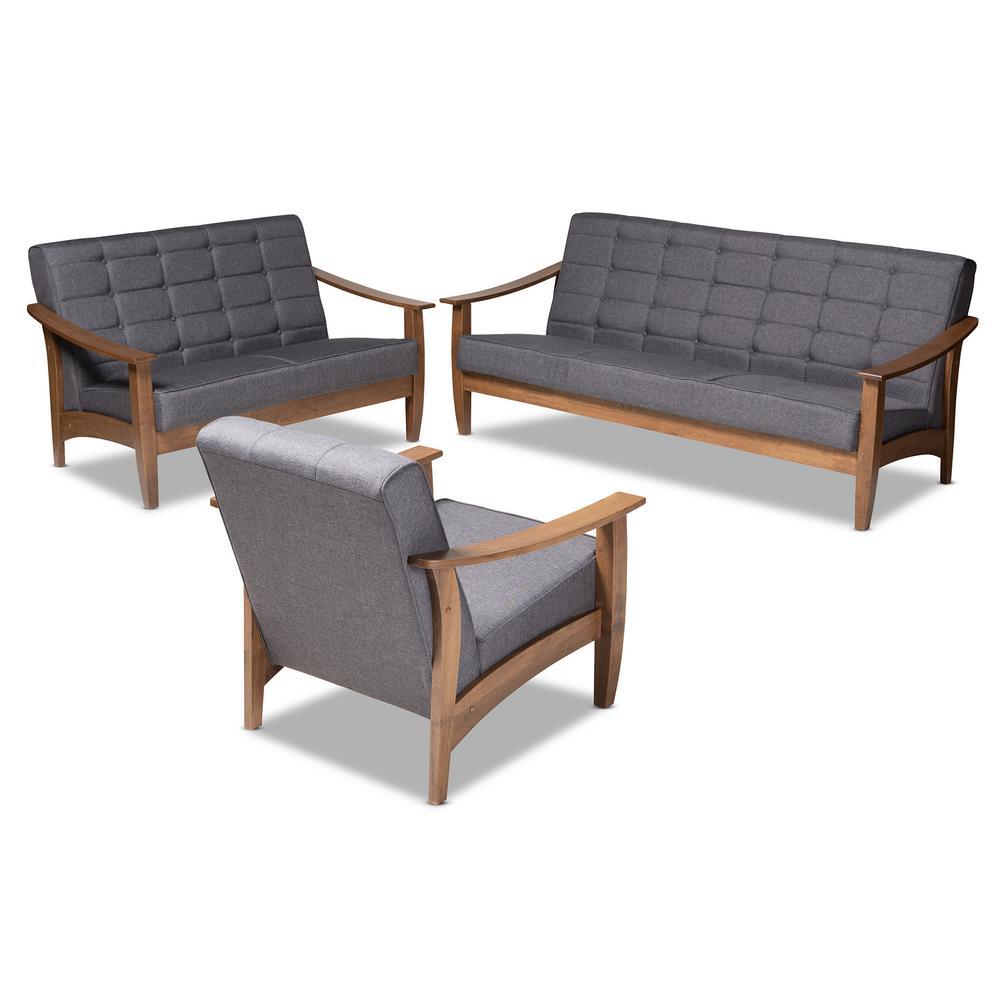 Baxton Studio Larsen 3-Piece Gray and Walnut Living Room (Set)
