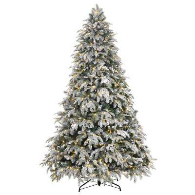 7.5 ft. Pre-Lit LED Flocked Mixed Pine Tree with 500 Warm White Lights