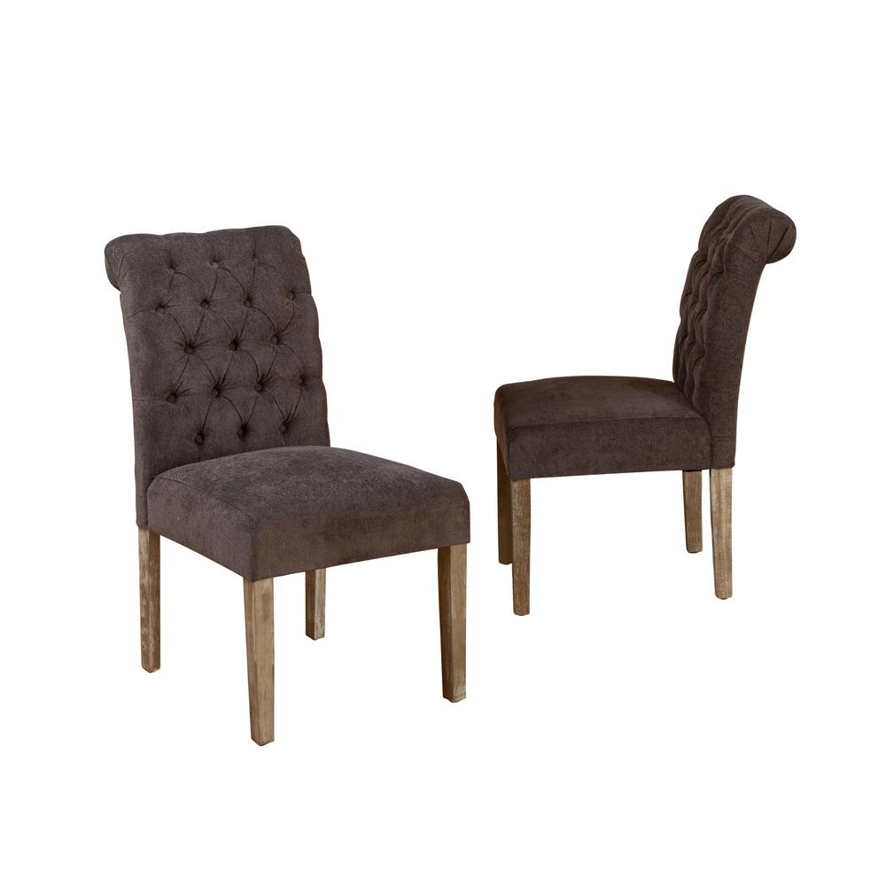 Le House Dinah Dark Grey Fabric Tufted Dining Chairs Set Of 2