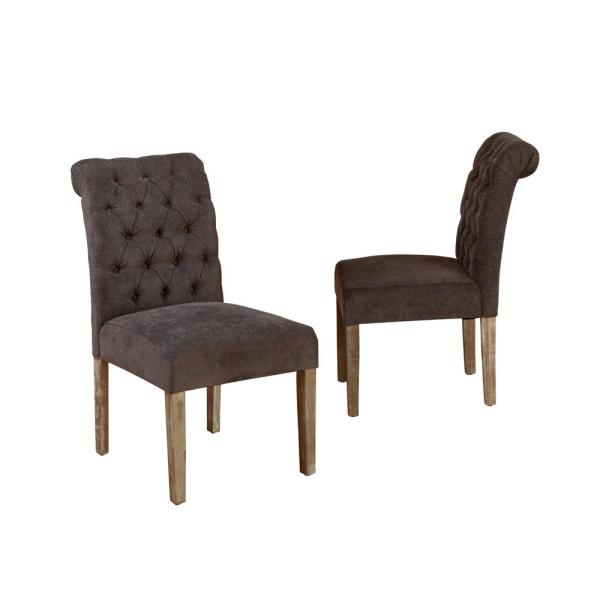 Dinah Dark Grey Fabric Tufted Dining Chairs (Set of 2)