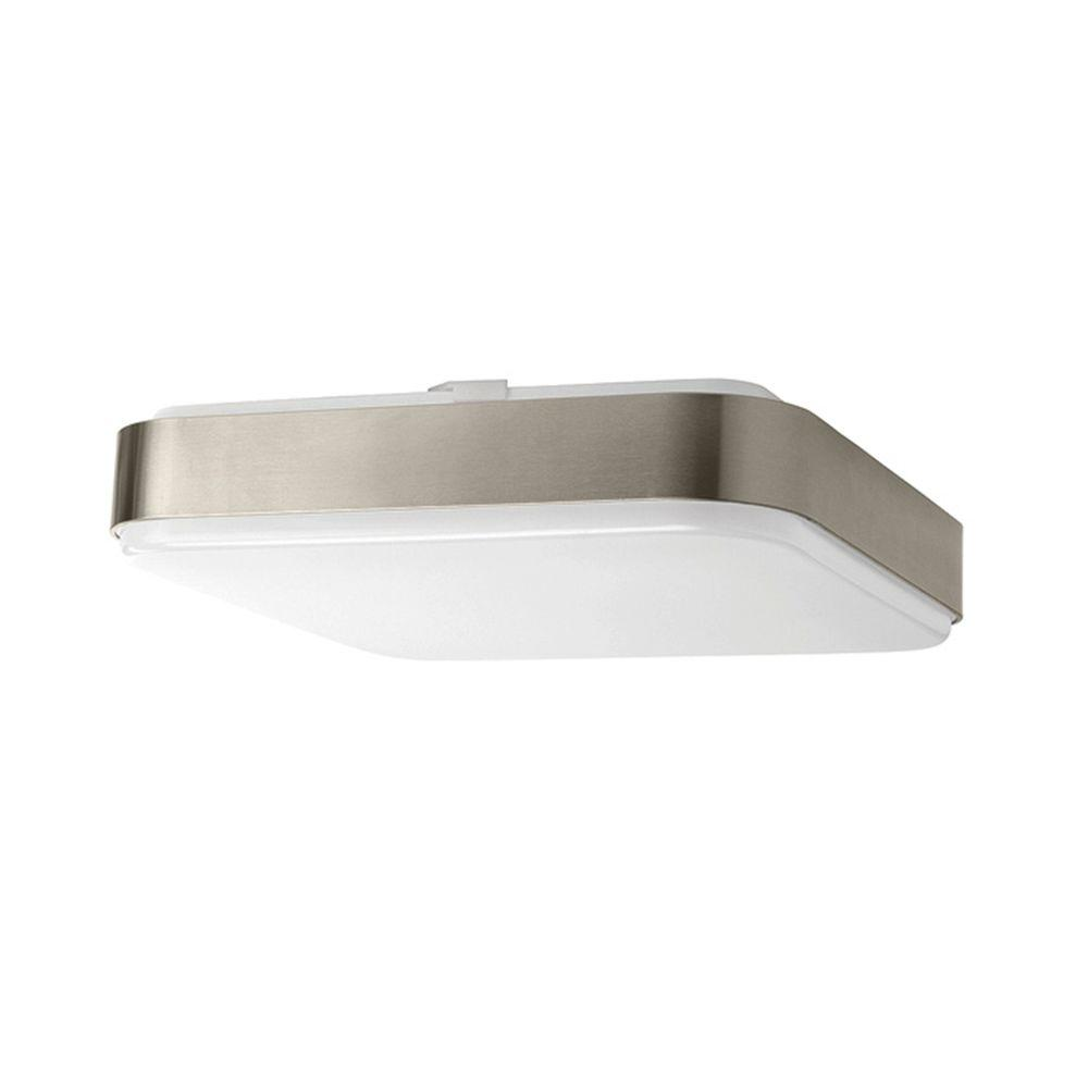 Hampton Bay 14 in Brushed Nickel Bright White Square LED Flushmount