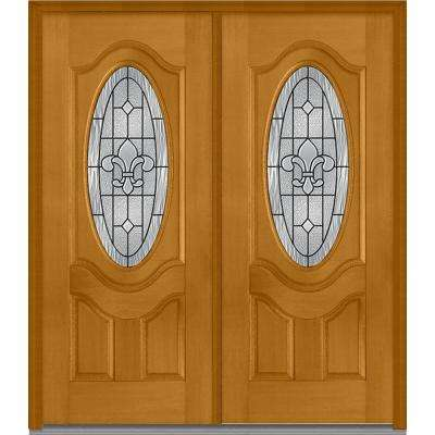 72 in. x 80 in. Carrollton Left-Hand Inswing Oval Lite Decorative 2-Panel Stained Fiberglass Mahogany Prehung Front Door