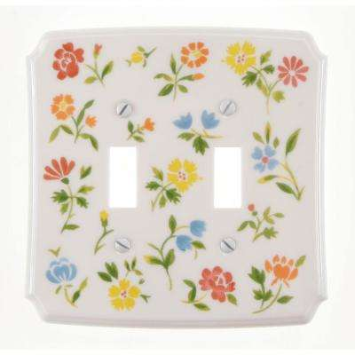 flower toss 2 gang toggle wall plate