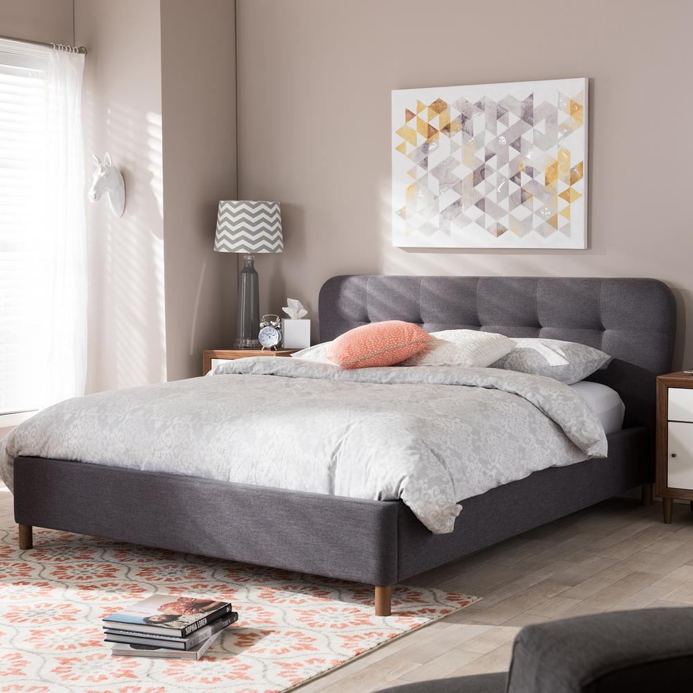 Baxton Studio Germaine Gray Queen Upholstered Bed 28862-7022-HD