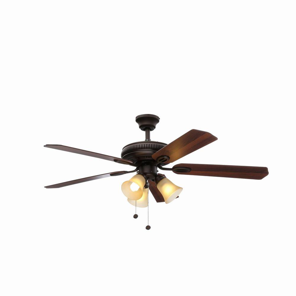 Hampton Bay Glendale 52 In Led Indoor Oil Rubbed Bronze Ceiling Fan With Light Kit Ag524 Orb The Home Depot