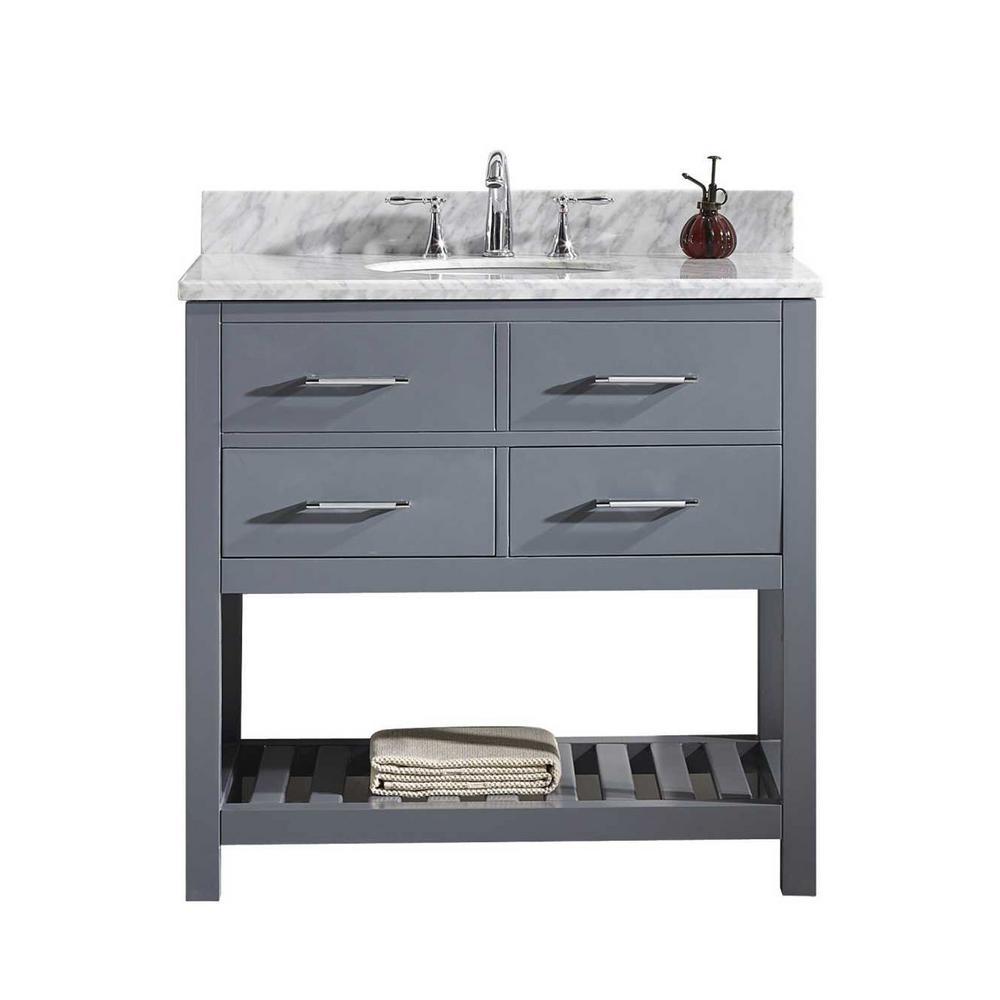 Virtu USA Caroline Estate 36 in. W x 22 in. D Single Vanity in Gray with Marble Vanity Top in White with White Basin