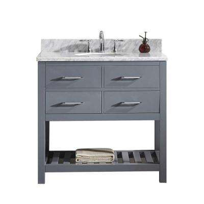 Caroline Estate 36 in. W x 22 in. D Single Vanity in Gray with Marble Vanity Top in White with White Basin