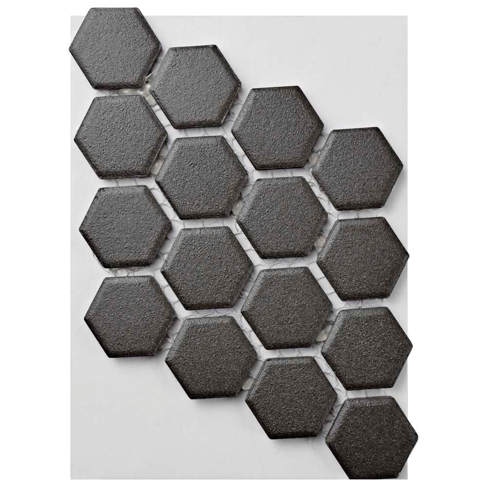 Gotham Hex Black Porcelain Unglazed Mosaic Tile - 3 in. x 4 in. Tile Sample