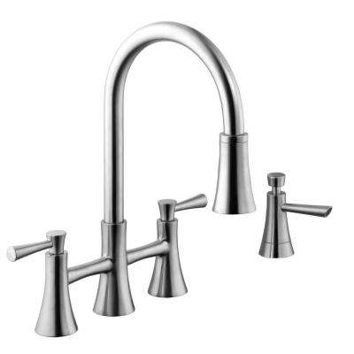 Selma 2 Handle Pull Down Sprayer Bridge Kitchen Faucet With Soap Dispenser In Stainless