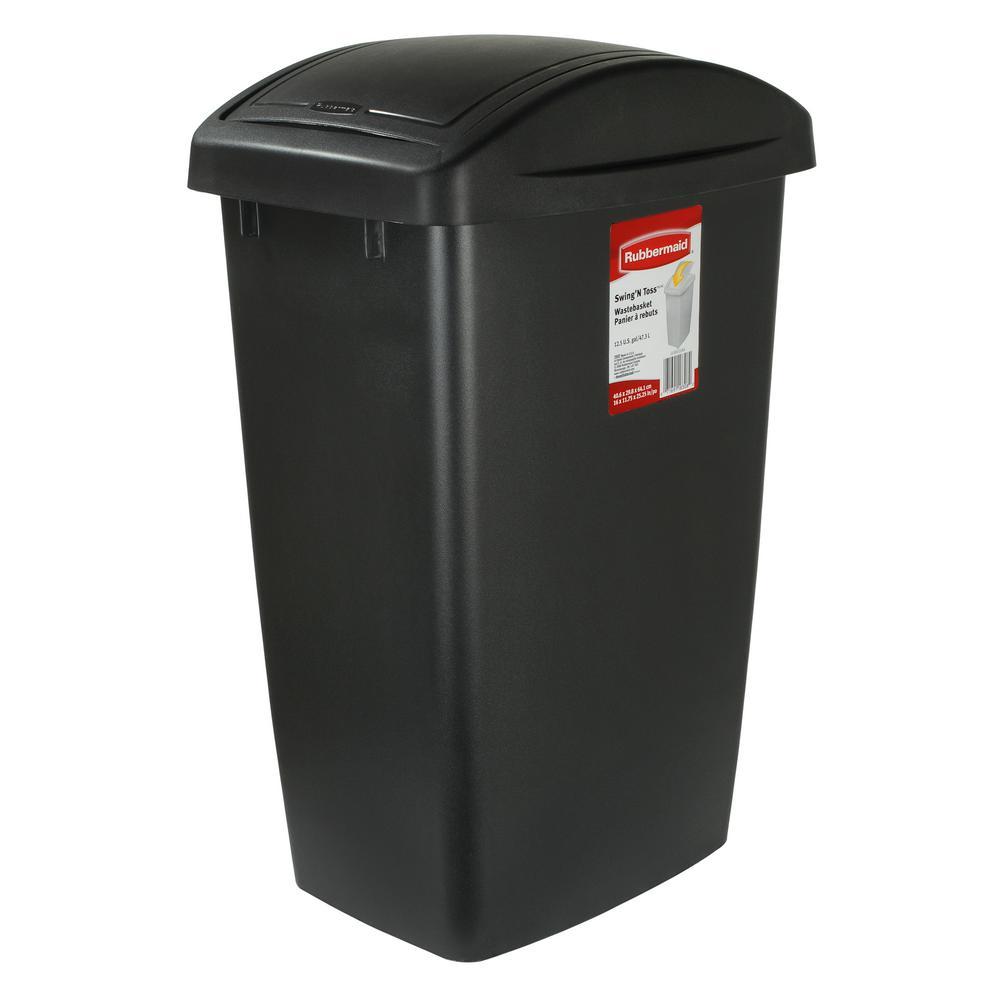 12.5 Gal. Black Swing Top Wastebasket